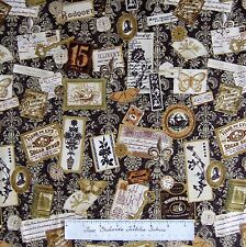 Orleans Fabric - Moth Clock Key French Victorian Brown Gold - Hoffman Cotton 24""