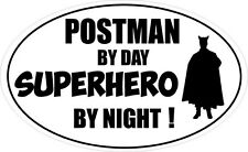 POSTMAN BY DAY SUPERHERO - Post / Letters / Mail Vinyl Sticker 16cm x 9cm