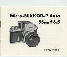 Vintage  Micro-NIKKOR-P Auto  55mm f/3.5  Instructions  IB  1970?
