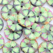 40PCs Gift Coconut Shell Buttons Sewing Scrapbooking Patterned Green 15mm Dia.