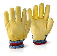 FLEECE LINED HIDE LEATHER GLOVES LORRY DRIVERS COLD STORE WORK SAFETY GLOVE