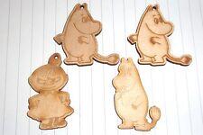 Kawaii Lindo 60s Retro Moomin Troll Encantos X 4 Colgantes de Madera poco doblamos