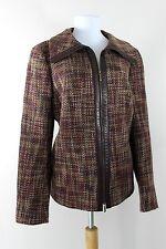 AKRIS Switzerland Wool Alpaca Tweed Jacket Blazer Brown Burgundy US 16 Large