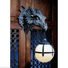 "MARSHGATE CASTLE WALL MOUNTED DRAGON LAMP DUNGEON BALL 18""H RESIN FIGURINE"