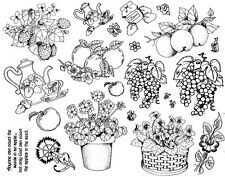 Unmounted Rubber Stamps Sheets, Flowers, Fruit, Tea Pot, Strawberries, Grapes