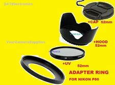ADAPTER RING+UV FILTER+FLOWER HOOD+LENS CAP 52mm for CAMERA NIKON COOLPIX P80