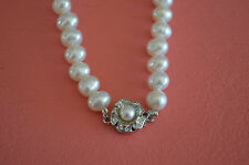"""Fresh Water Pearl Rose Design Necklace 18"""" w/ Pearl Pendant Holidays Gift"""