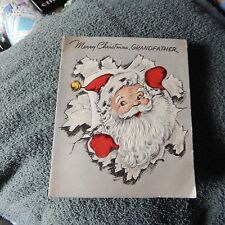 Vintage Christmas Card, Art Guild 5X 412, GRANDFATHER, Santa -- 1950's