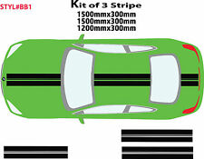 Kit Of 3 Car Bonnet Roof Boot Racing Stripes Stickers Decal