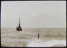 Glass Magic Lantern Slide STEAMSHIP DUNDRUM BAY COUNTY DOWN C1890 PHOTO IRELAND