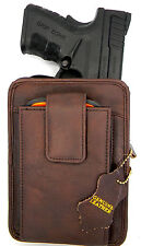 BROWN LEATHER CCW CONCEALMENT GUN PISTOL HOLSTER BELT PACK - GLOCK 26 27 42 43