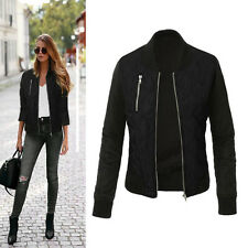 Women Vintage Quilted Jackets Bomber Baseball Biker Coat Padded Overcoat Outwear
