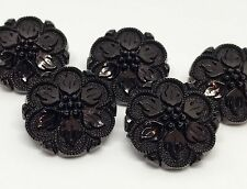 5 GORGEOUS JET BLACK VINTAGE STYLE COAT BUTTONS WITH FLOWER AND LEAF DESIGN 23mm
