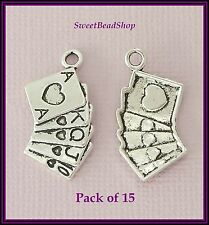 15 Antique Silver Colour 25 x 13mm Alice in Wonderland Card Set Charms