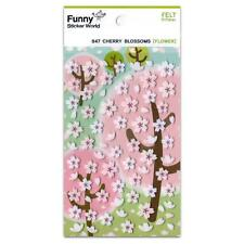 CUTE CHERRY BLOSSOMS FELT STICKERS Flowers Kawaii Sticker Sheet Craft Scrapbook