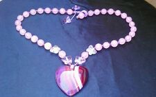 Purple agate HEART Rose QUARTZ Crystal Butterflies NECKLACE Valentine's Day GIFT