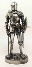 """Medieval Knight Decorative Standing Statue 7"""" Tall Swordman and Shield Figurine"""