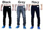 Mens Designer ENZO Stretch Cuffed Skinny Slim Fit Jean Cotton Denim Trousers