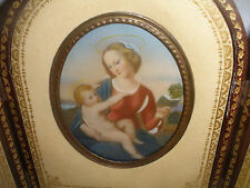 Antique after Raphael Madonna with child miniature painting in leather case Roma
