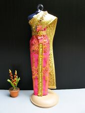"Thai National Traditional Dress Costume for Barbie Doll 12"" Clothing Outfit Pink"