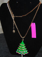 BETSEY JOHNSON GORGEOUS COLORS CHRISTMAS TREE NECKLACE NICE LONG CHAIN