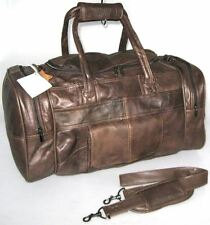 GRAND VINTAGE VÉRITABLE CUIR SAC DE TRANSPORT WEEKEND CABINE SPORT SAC MARRON