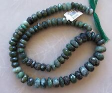 "18"" Strand Natural Emerald Gemstone Large Faceted Graduated Rondelle Beads"