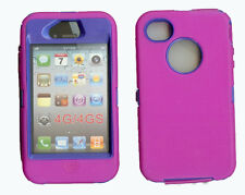 Built in Screen Protector Case / Cover IPHONE 4, 4S  HOT PINK / BLUE