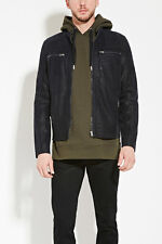 Forever 21 Men's Black Pebbled Faux Leather Jacket Small S