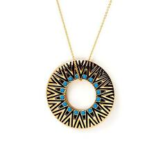Authentic!! New House of Harlow 1960 Circle Pendant Necklace in Turquoise