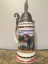German Regimental Military Beer Stein Lithophane Konig Reservesemann