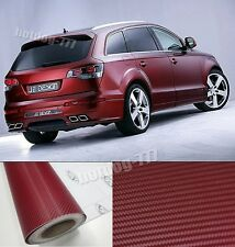 98ft x 5ft 1 Full Roll Hot Car 3D Wine Red Carbon Fiber Vinyl Wrap Sticker Sheet