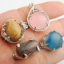 Wholesale 4 Pcs Pink Blue Brown Agate Silver Plated Jewelry Rings Mixed Size