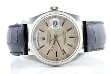 Rolex Mens 18K White Gold Day-Date President - Silver Dial - Black Strap