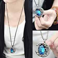 Vintage Women Crystal Moon Pendant Jewelry Retro Long Chain Sweater Necklace New