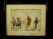 """Scène de supplice Aquarelle XIXe on """"pith paper"""", watercolor Chine China torture"""