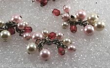 Vintage Faux Plastic Pearl Bead Cluster Silver Metal Pink White Jewelry Making 6