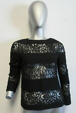 NWT LES COPAINS black knit and lace striped long sleeve sweater blouse size 40/6