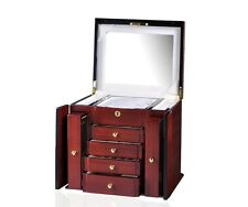 Diplomat Elegant Teak Wood Finish Jewelry Vanity Box Storage Display Chest Case
