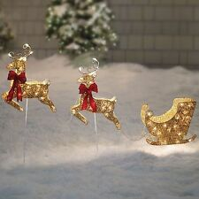 Santa Sleigh and Reindeer, Gold Pre-Lit Holiday Christmas Outdoor Decoration