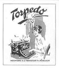 Original-Anzeige (85) Werbung Reklame Schreibmaschinen: Torpedo, 1926