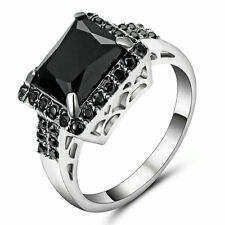 Square Cut Black Sapphire Wedding Band Ring White Gold Filled  Jewelry Size 6