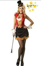 HALLOWEEN Circus Ringmaster Mistress Lion Tamer Showgirl Dress Costume Fancy M