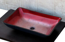 Bathroom Art Rectangular Glass Vessel Vanity Sink RE51
