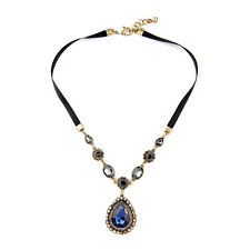 NEW * Stylish J CREW Grand Victorian Blue Medallion Pendant Lace Necklace