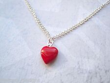 *RED GLASS PUFFED LOVE HEART* Silver Plated Necklace Chain Gift Bag TATTOO