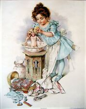 art print~DOLLIES BATH~Victorian girl with doll bed clothes child vtg repr 11x14