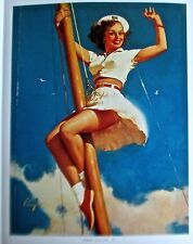 Gil Elvgren Pin Up Poster ANCHORS A-WOW WOMAN ON POLE WITH SKIRT FLYING 15x12