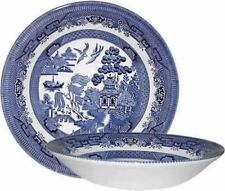 CHURCHILL BLUE WILLOW 6 COUPE SOUP BOWLS 20cm NEW