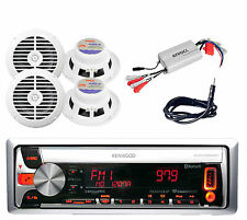 KMR-D562BT Marine Car MP3 CD Radio Stereo + 4 White Marine Speakers,Amp,Antenna